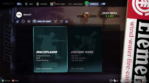Hall of fame screenshot of Tony Hawk's Pro Skater 1 + 2 video game interface.