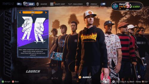 Jam mode screenshot of Tony Hawk's Pro Skater 1 + 2 video game interface.