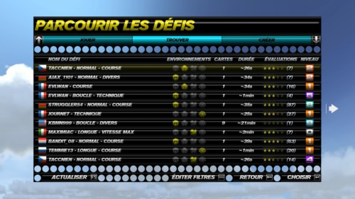 Browse the challenges screenshot of Trackmania Turbo video game interface.
