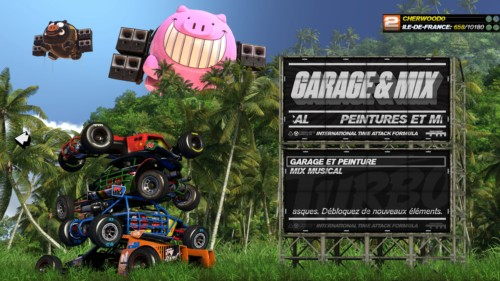 Garage and mix screenshot of Trackmania Turbo video game interface.