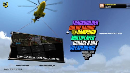Main menu screenshot of Trackmania Turbo video game interface.