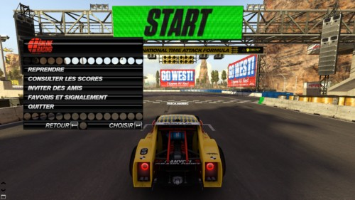 Pause screenshot of Trackmania Turbo video game interface.