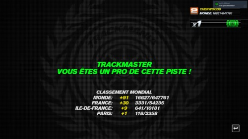 Trackmaster screenshot of Trackmania Turbo video game interface.