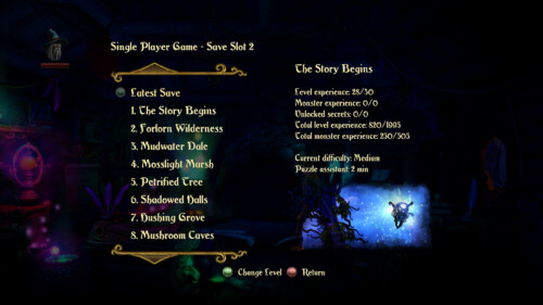 Change level screenshot of Trine 2 video game interface.