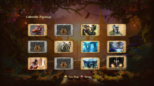 Collectible paintings screenshot of Trine 2 video game interface.