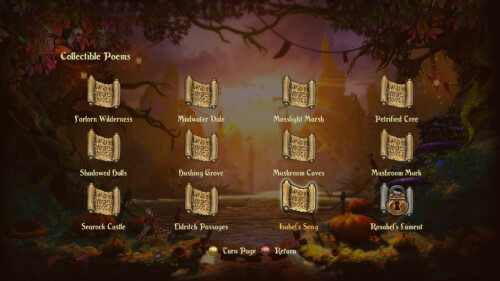 Collectible poems screenshot of Trine 2 video game interface.