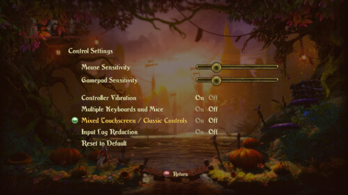 Control screenshot of Trine 2 video game interface.