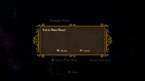 Exit to main menu screenshot of Trine 2 video game interface.