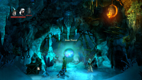 Game paused screenshot of Trine 2 video game interface.