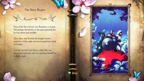 Loading level screenshot of Trine 2 video game interface.