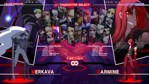 Character select screenshot of Under Night In-Birth Exe:Late[st] video game interface.