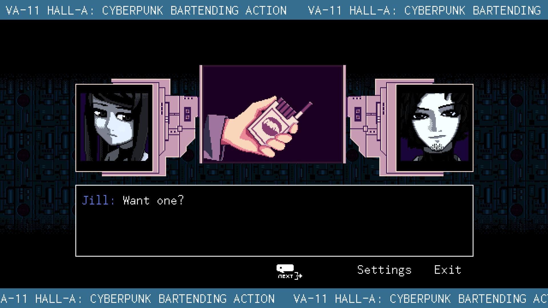 Break screenshot of VA-11 Hall-A: Cyberpunk Bartender Action video game interface.