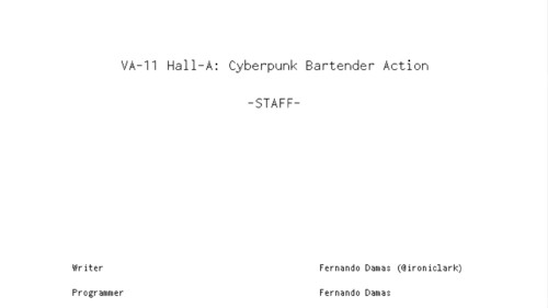 Credits screenshot of VA-11 Hall-A: Cyberpunk Bartender Action video game interface.