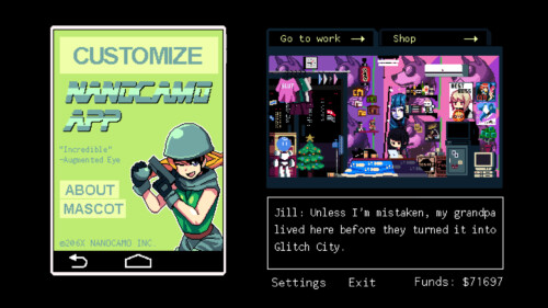 Nanocamo app screenshot of VA-11 Hall-A: Cyberpunk Bartender Action video game interface.