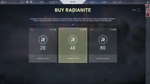 Buy radianite screenshot of Valorant video game interface.