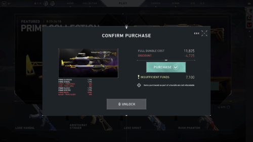 Confirm purchase screenshot of Valorant video game interface.