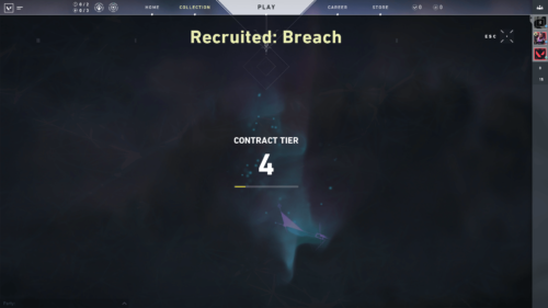 Contract tier screenshot of Valorant video game interface.