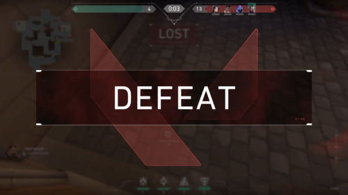 Defeat screenshot of Valorant video game interface.