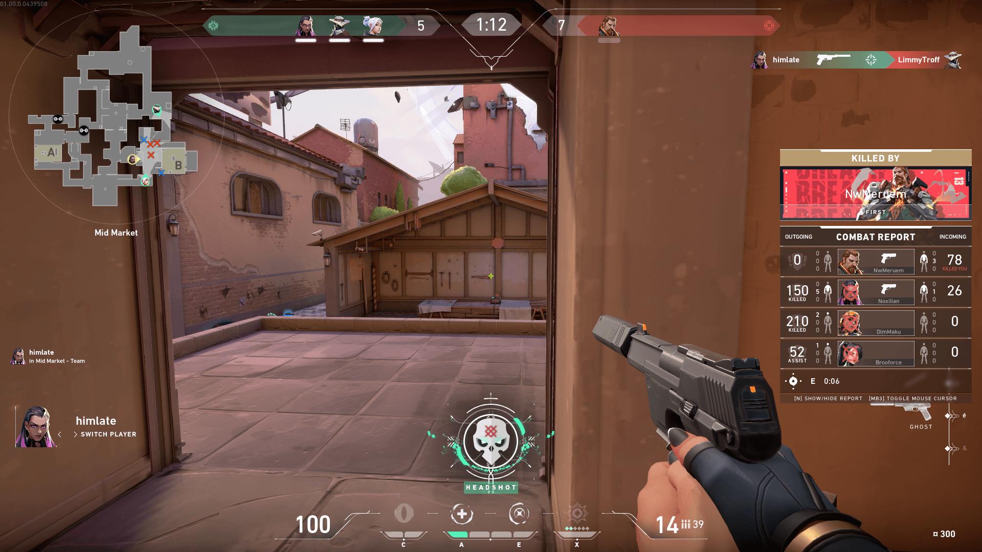 Headshot screenshot of Valorant video game interface.