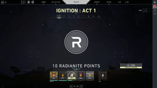 Ignition Act 1 screenshot of Valorant video game interface.