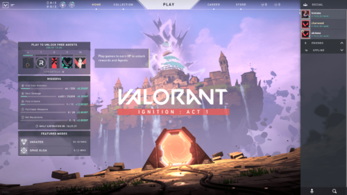 Main menu screenshot of Valorant video game interface.