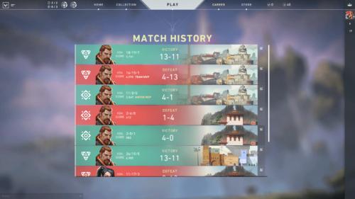 Match history screenshot of Valorant video game interface.
