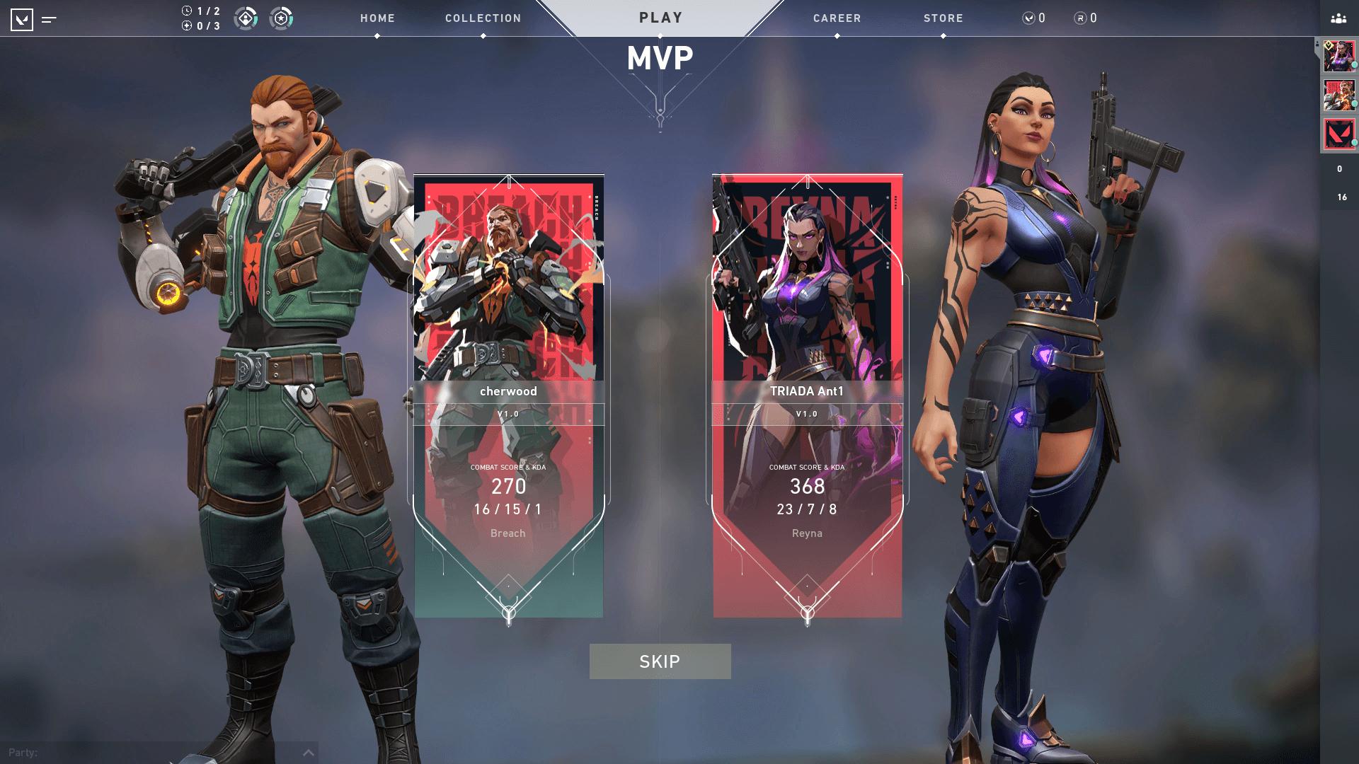 MVP screenshot of Valorant video game interface.