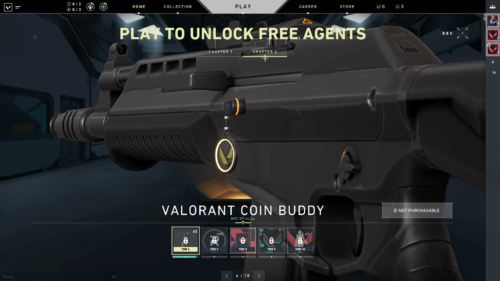 Play to unlock free agents screenshot of Valorant video game interface.