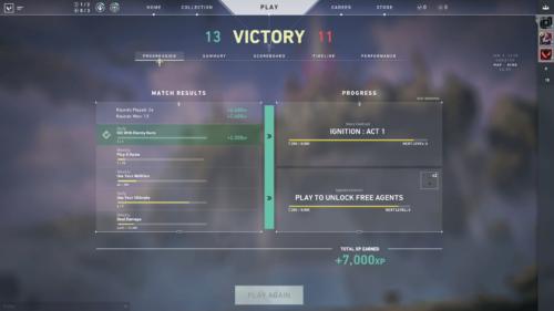 Progression screenshot of Valorant video game interface.