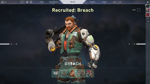 Recruited Breach screenshot of Valorant video game interface.