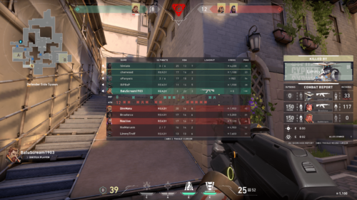 Scoreboard screenshot of Valorant video game interface.