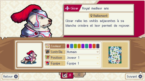 Character screenshot of Wargroove video game interface.