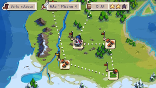 Level selection screenshot of Wargroove video game interface.