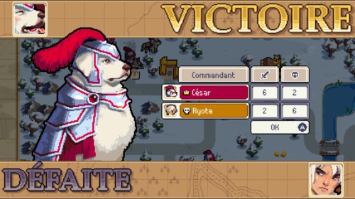 Match summary screenshot of Wargroove video game interface.