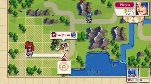 Tutorial screenshot of Wargroove video game interface.