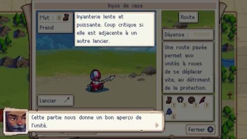 Unit information screenshot of Wargroove video game interface.