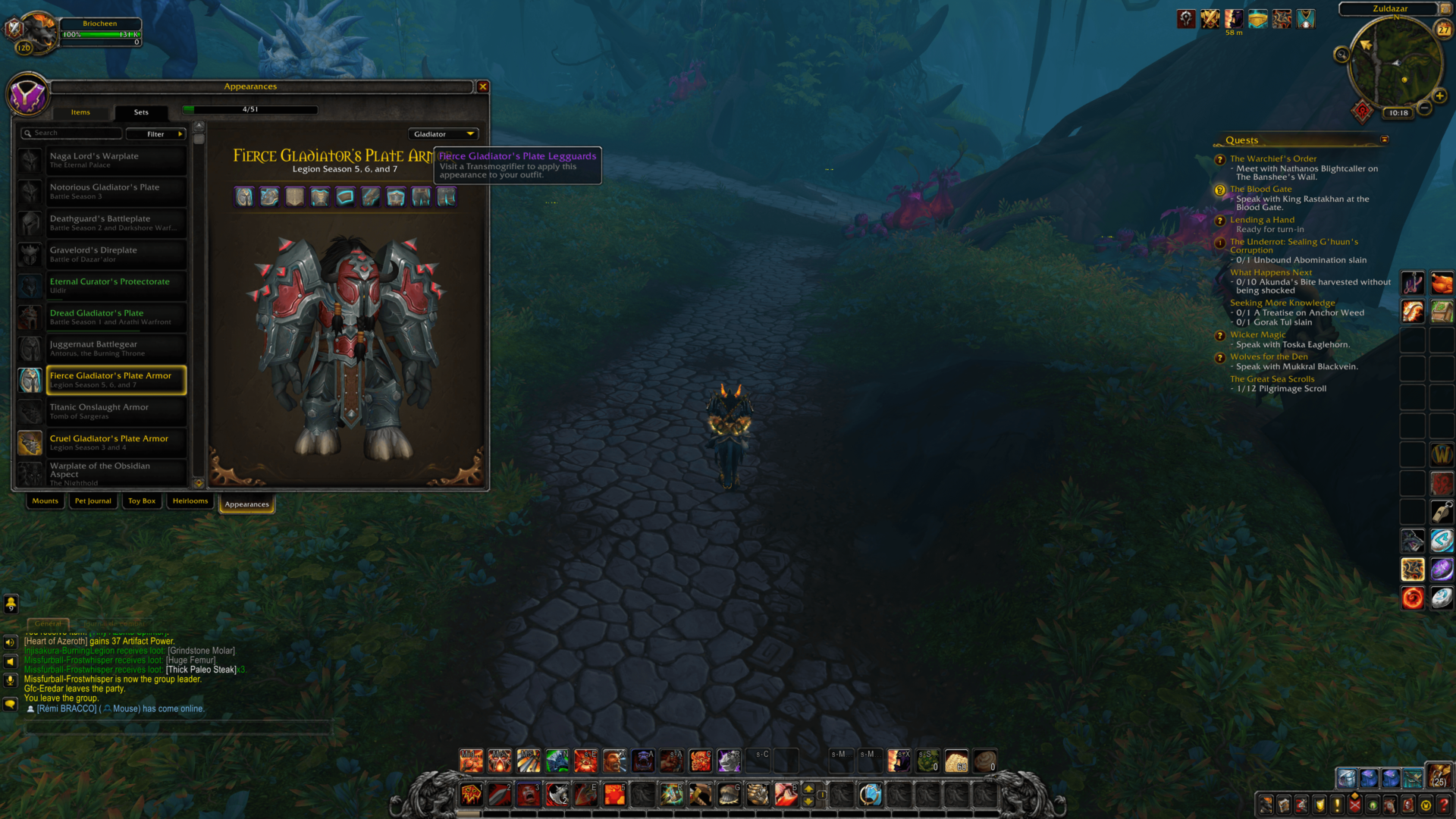 Appearances screenshot of World of Warcraft video game interface.