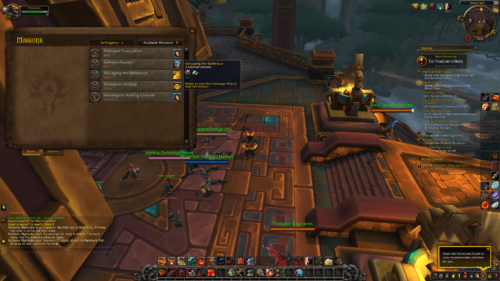 Available missions screenshot of World of Warcraft video game interface.