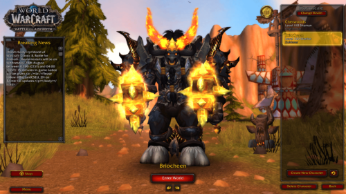 Character selection screenshot of World of Warcraft video game interface.