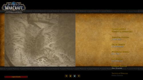 Credits screenshot of World of Warcraft video game interface.