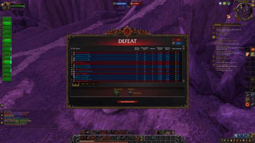 Defeat screenshot of World of Warcraft video game interface.