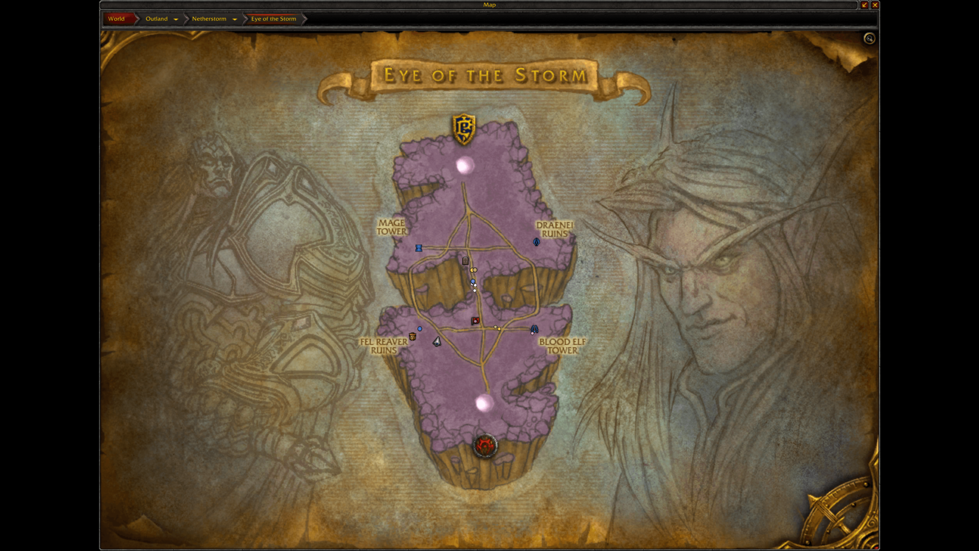 Eye of the storm screenshot of World of Warcraft video game interface.