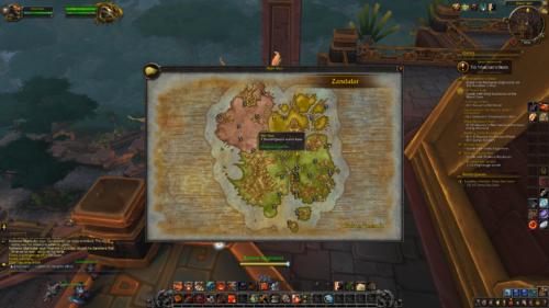 Flight map screenshot of World of Warcraft video game interface.