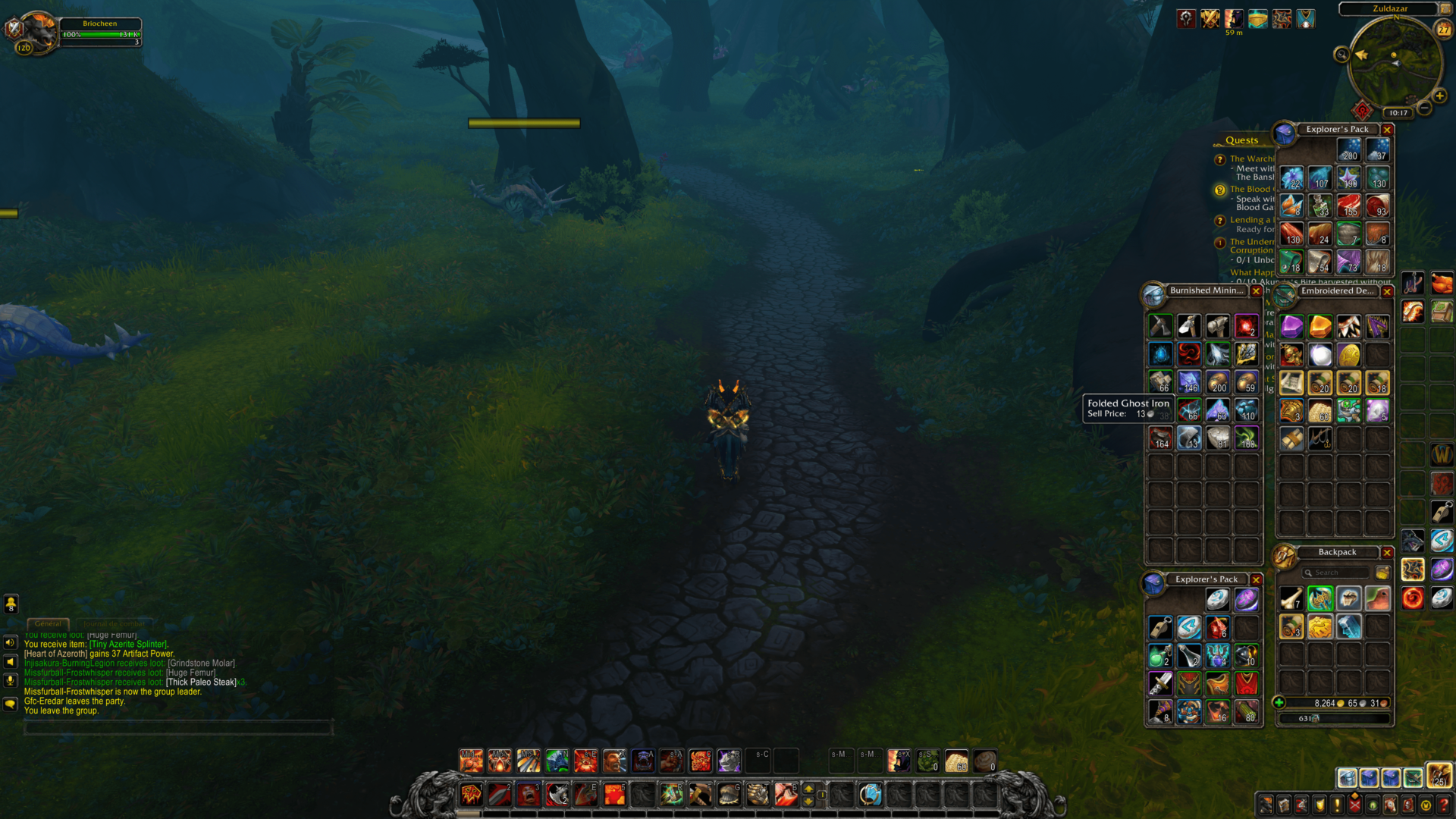 Inventory screenshot of World of Warcraft video game interface.
