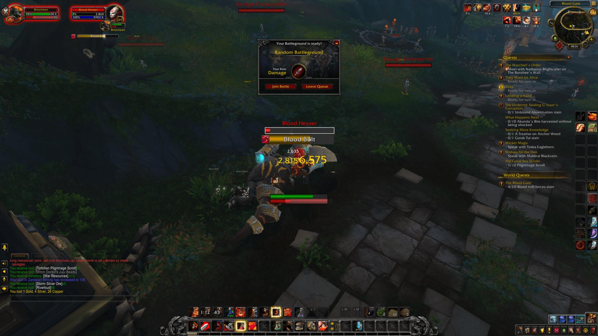 Join battle screenshot of World of Warcraft video game interface.