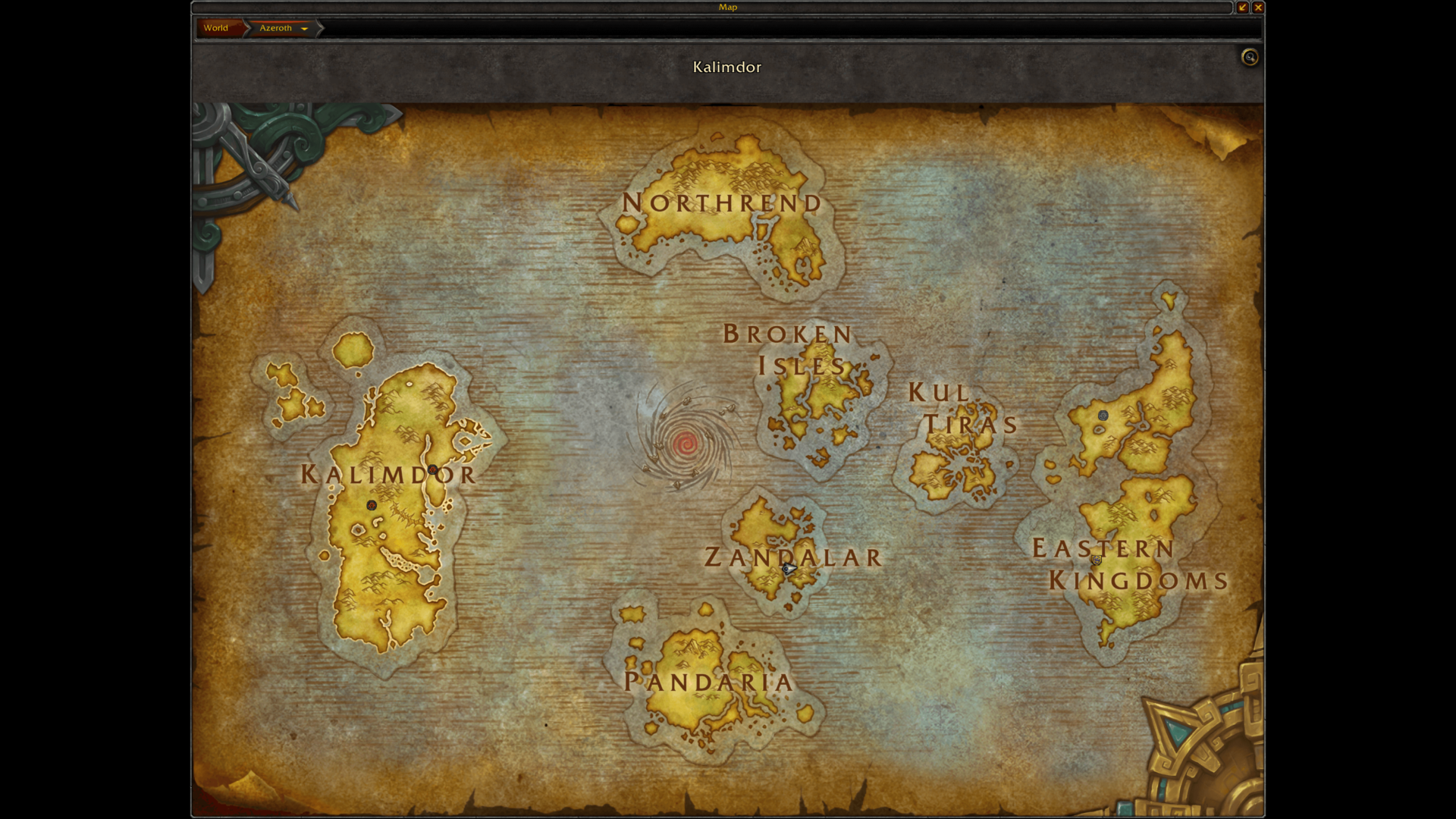 Kalimdor screenshot of World of Warcraft video game interface.