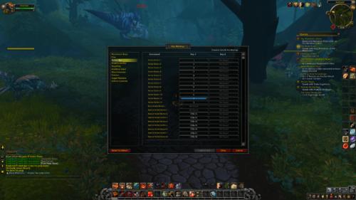 Key bindings screenshot of World of Warcraft video game interface.
