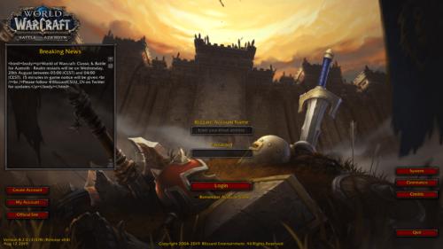 Login screenshot of World of Warcraft video game interface.