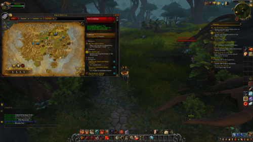Map and quest log screenshot of World of Warcraft video game interface.