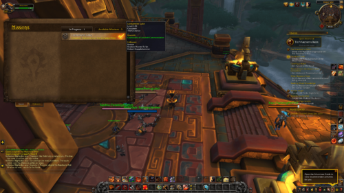 Missions screenshot of World of Warcraft video game interface.